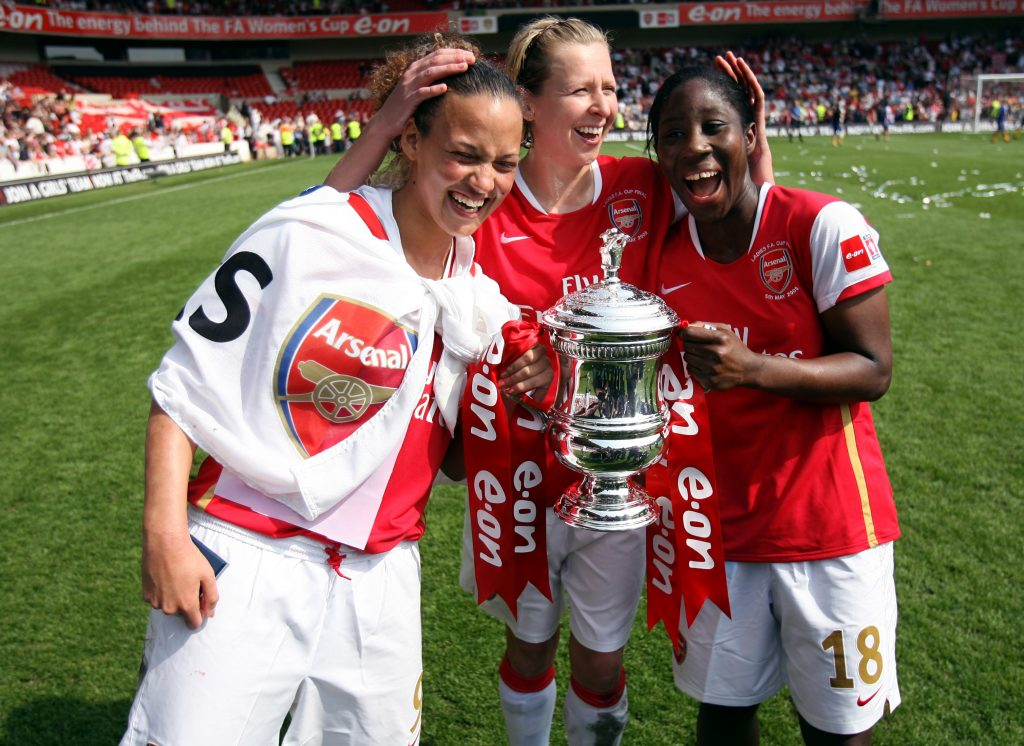 Arsenal's Lianne Sanderson, Anita Asante and Jayne Ludlow with the FA Cup.