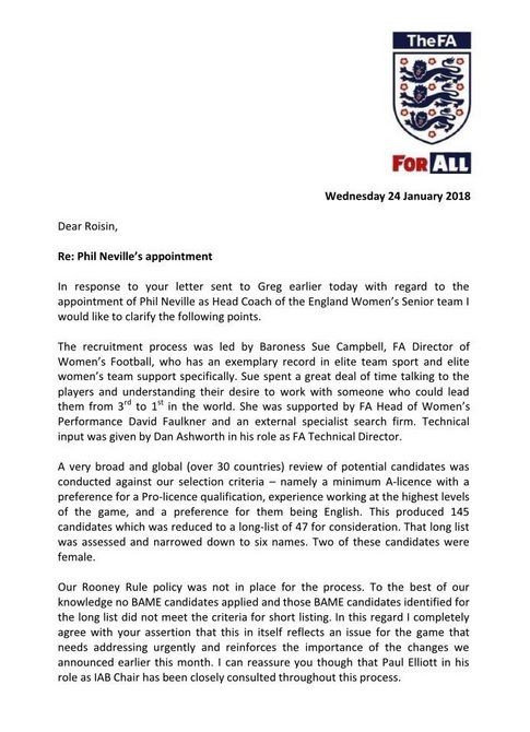 the fa u0026 39 s letter explaining england coach appointment