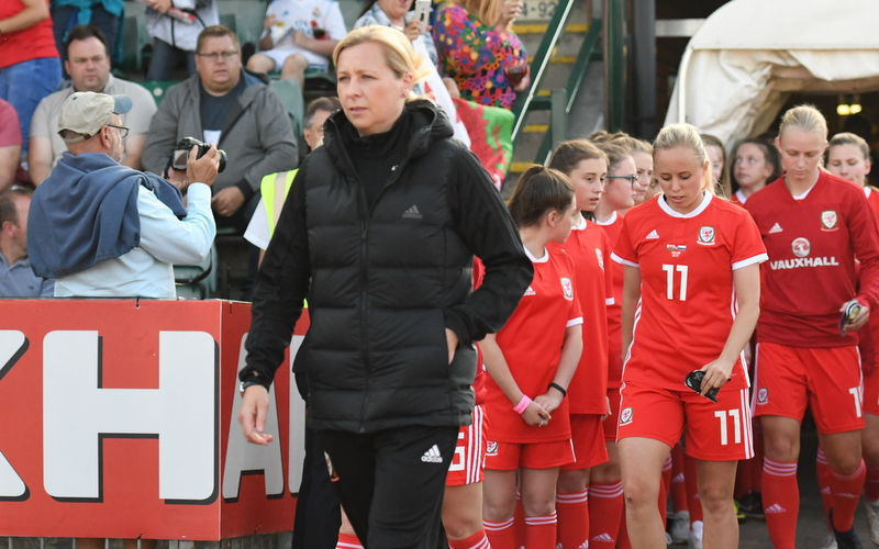 Jayne Ludlow leads out Wales team