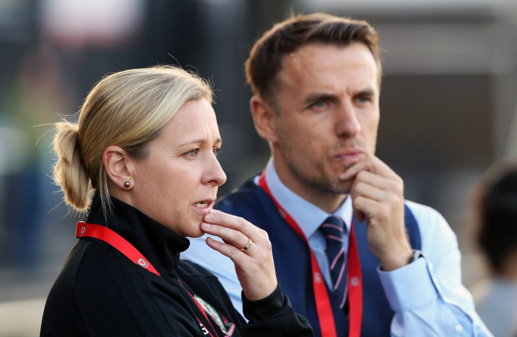 Wales manager Jayne Ludlow and England manager Phil Neville.