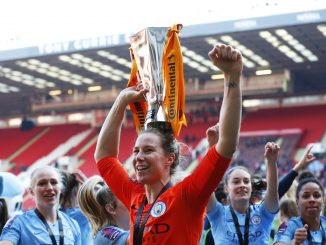 Karen Bardsley of Manchester City Women celebrates with the Continental Cup in 2018-19.