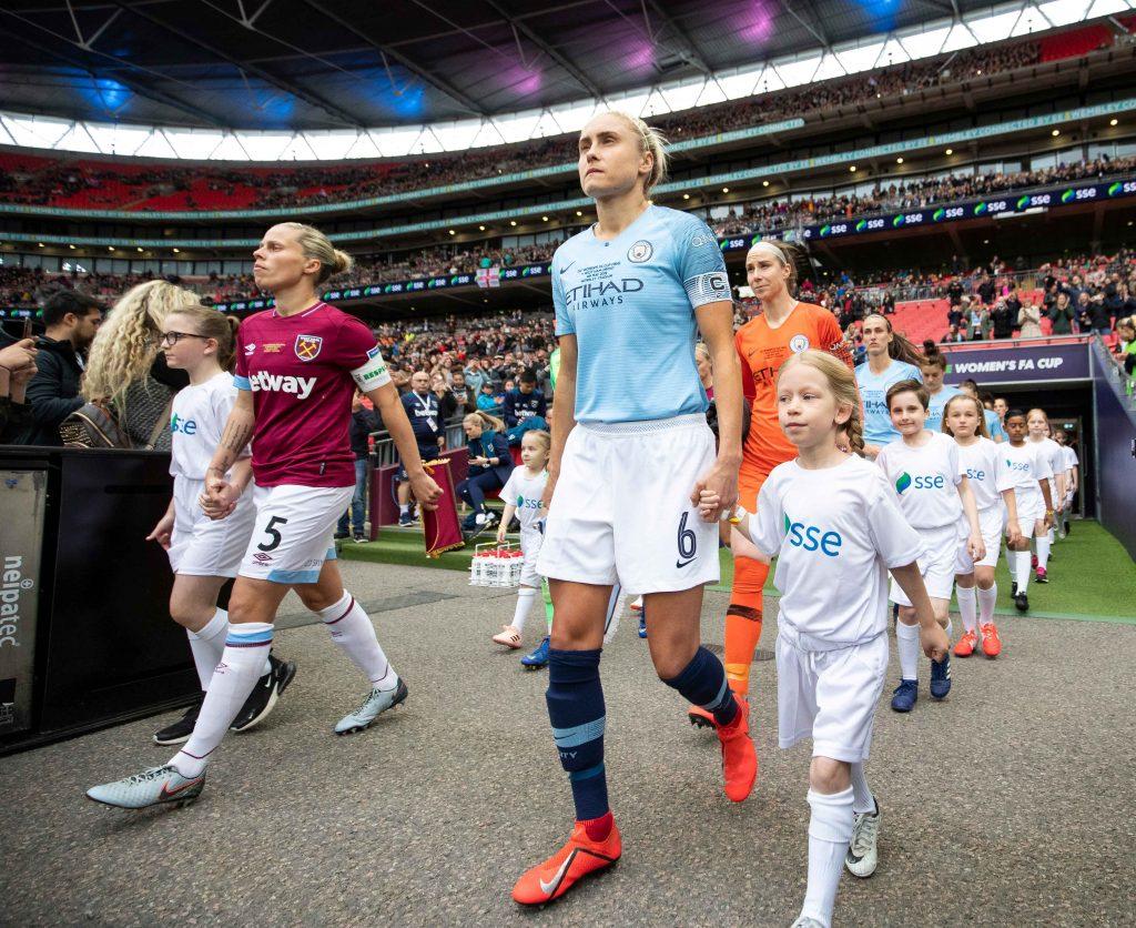 Last season's finalists walk out at Wembley Stadium