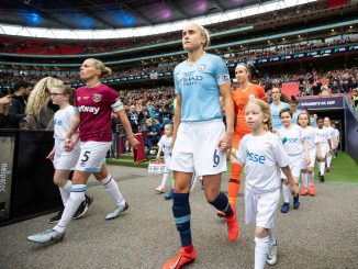 Last season's finalists walk out at Wembley Stadium