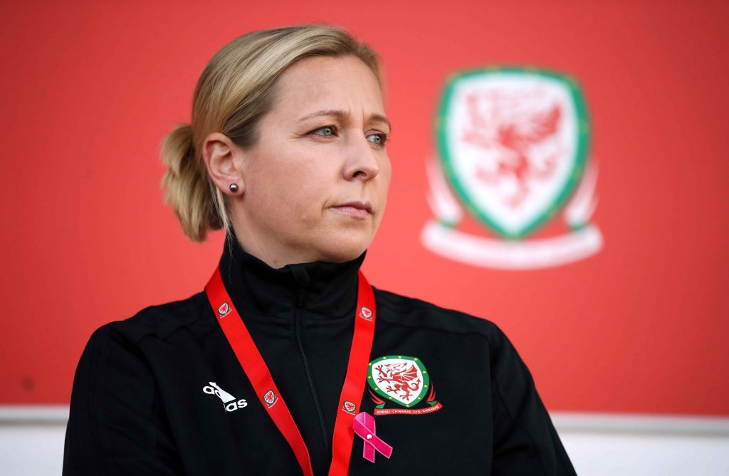 Wales manager Jayne Ludlow during the World Cup qualifying match with England.