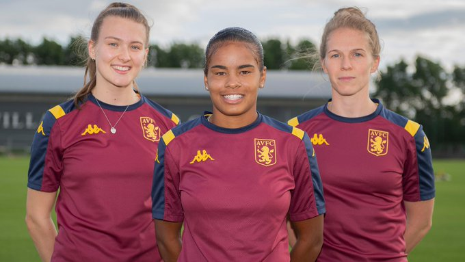 Aston Villa's three new signings, Shania Hayles, Natalie Haigh and Charlotte Greengrass