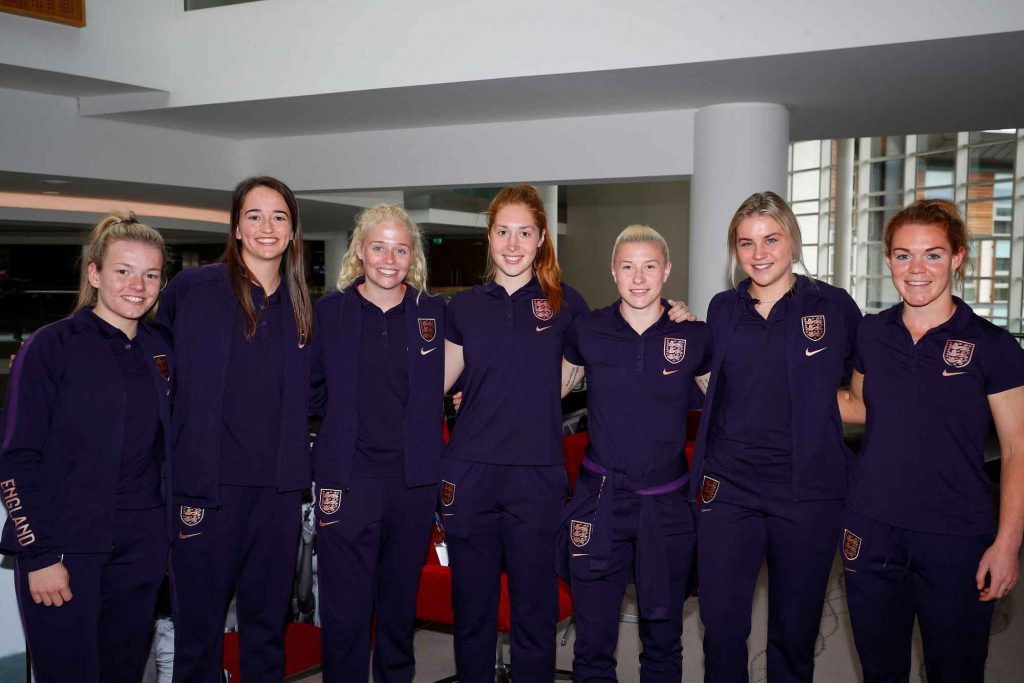 Lauren Hemp, Anna Patten, Grace Fisk, Sandy McIver, Bethany England, Alessia Russo and Aoife Mannion