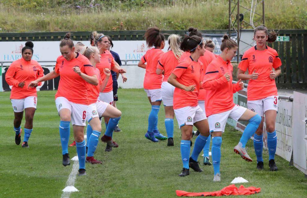 Blackburn Rovers Ladies warm up.