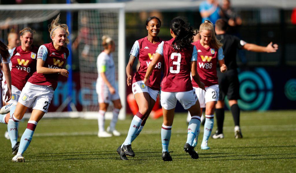 Melissa Johnson of Aston Villa Women celebrates her third goal.