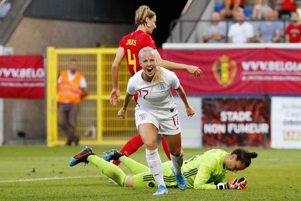 Beth Mead celebrates giving England a 2-0 advantage