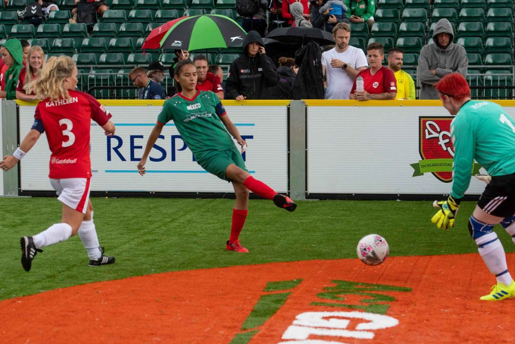 Mexico player shooting at goal at Homeless World Cup