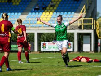 Amy Gallacher celebrates Hibernians opening goal against Cardiff Met
