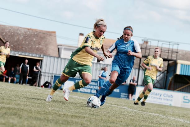 AFC Basildon in action with Norwich City in the FAWNL