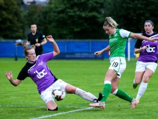 Hibernian's Chelsea Cornet is caught after shooting by Stirling University