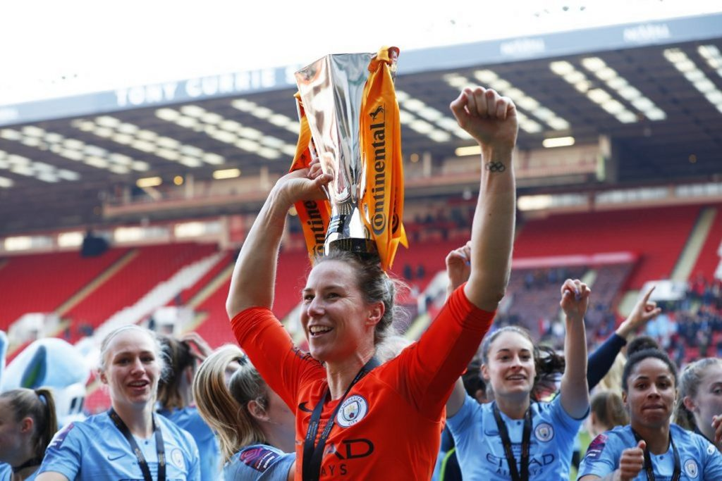 Karen Bardsley of Man City celebrates with the Continental Cup in season 2018-19.