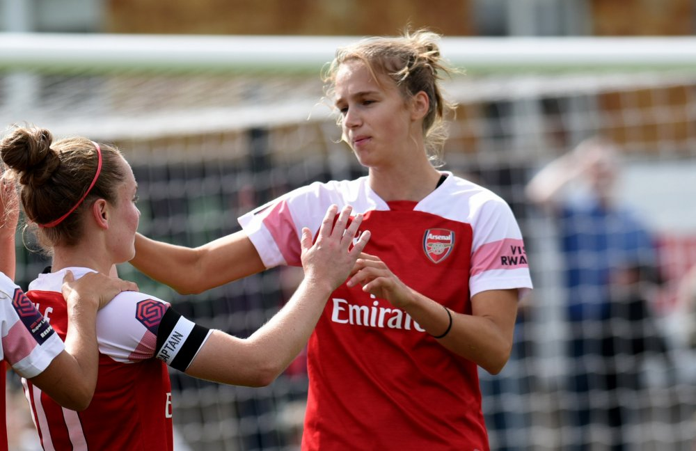 Arsenal's goalscorers Kim Little and Vivianne Miedema.