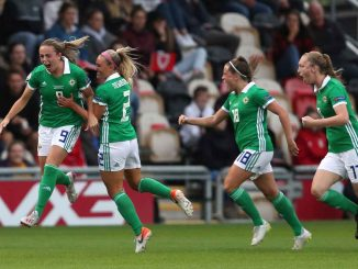 Northern Ireland's Simone Magill celebrates her goal.