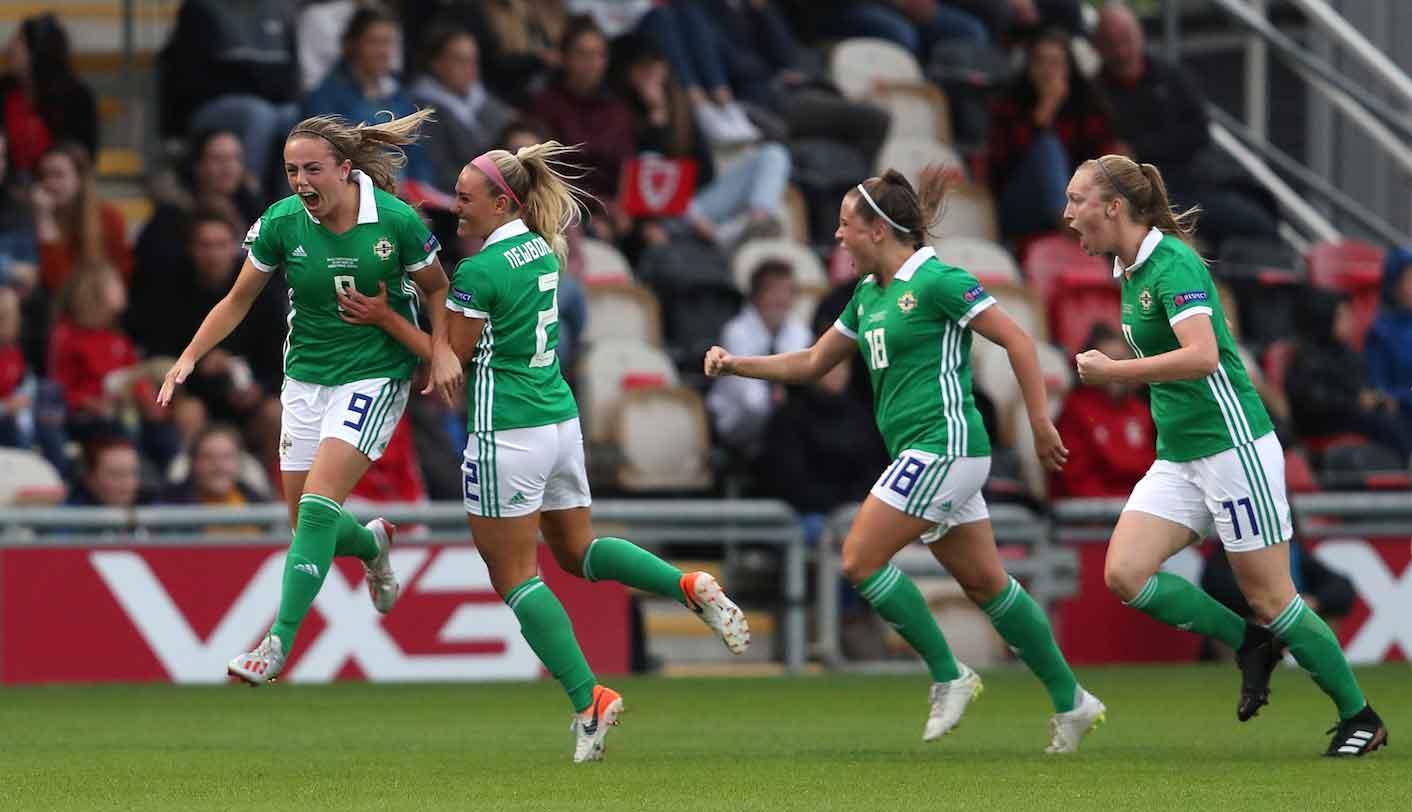 Northern Ireland's Simone Magill celebrates her goal.