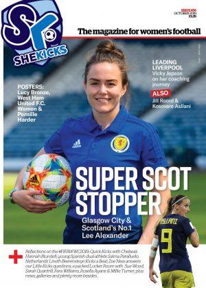 She Kicks Magazine Issue 56 cover featuring Scotland's No. 1 Lee Alexander
