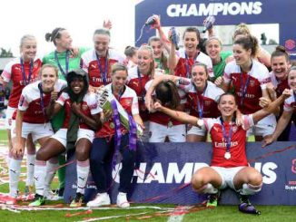 Arsenal celebrate their WSL title in 2019