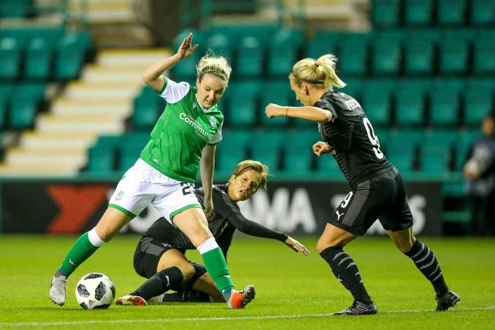 Hibs' Rachel Boyle in action against Slavia Praha