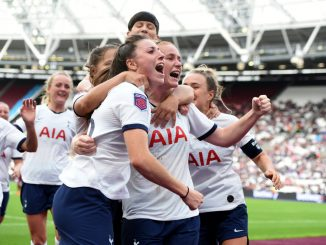 Spurs celebrate a second goal at London Stadium