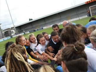 Chris Phillips in London City Lionesses huddle.
