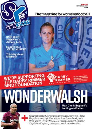 She Kicks Women's Football Magazine Issue 57 (Nov 2019) cover featuring Keira Walsh