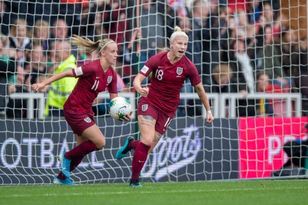 Beth England celebrates her goal against Brazil.