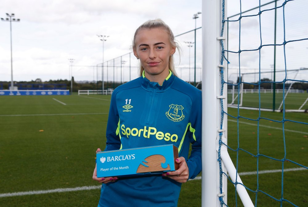 Chloe Kelly receiving the Barclays Player of the Month