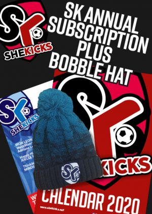 She Kicks Women's Football Magazine Subscription and Booble Hat offer