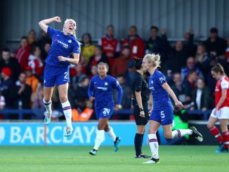 Maria Thorisdottir of Chelsea celebrates scoring winner against Arsenal