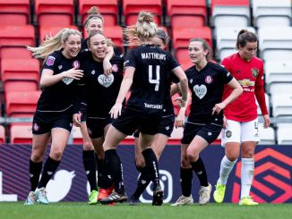 Bristol City celebrate Ebony Salmon's goal that beat Manchester United
