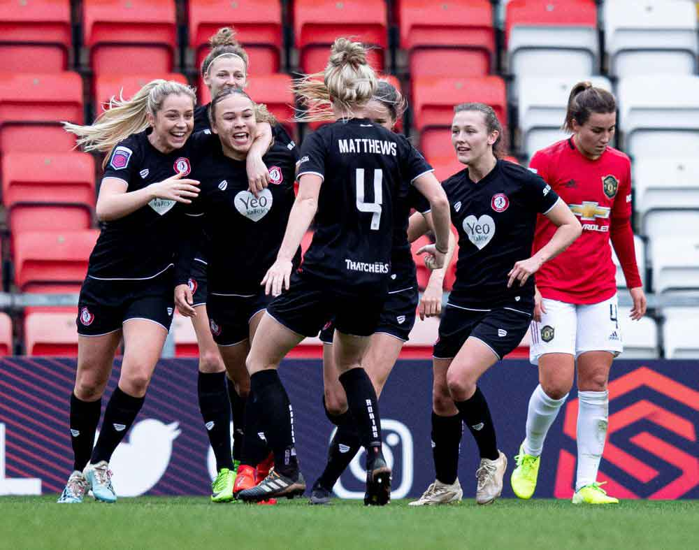 Bristol City celebrate Ebony Salmon's goal that beat Manchester United