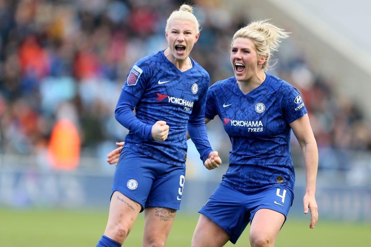Beth England celebrates scoring Chelsea's third goal