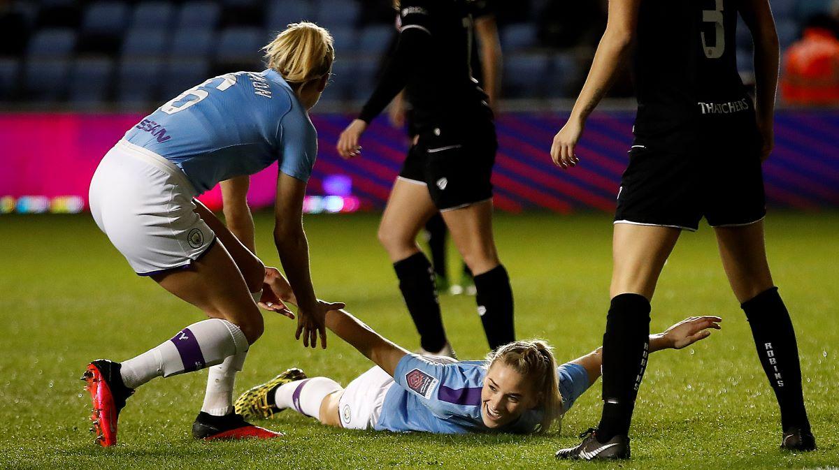 Gemma Bonner celebrates her goal against Bristol City