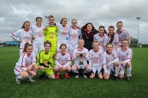 England U-15 schoolgirls with John Read Trophy with J
