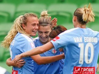 Melbourne City celebrate the only goal of the W-League Grand FInsl