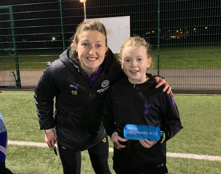 Aylesboru United girls' Jessica James with Ellen White