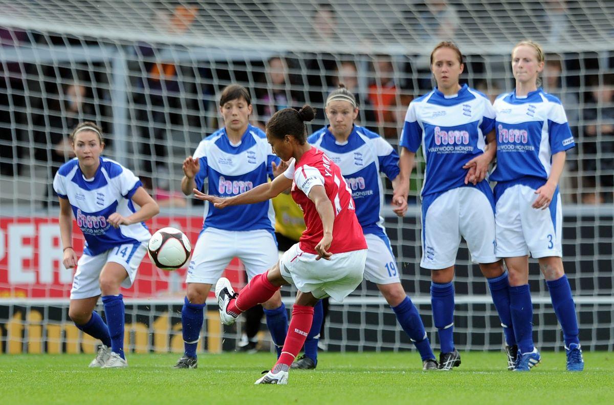 Rachel Yankey of Arsenal Ladies FC scores her side's third goal