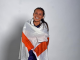 Chloe Fisher draped in England flag