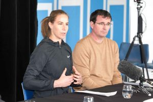 Karen Bardsley and Gary Bowyer at MMU press conference