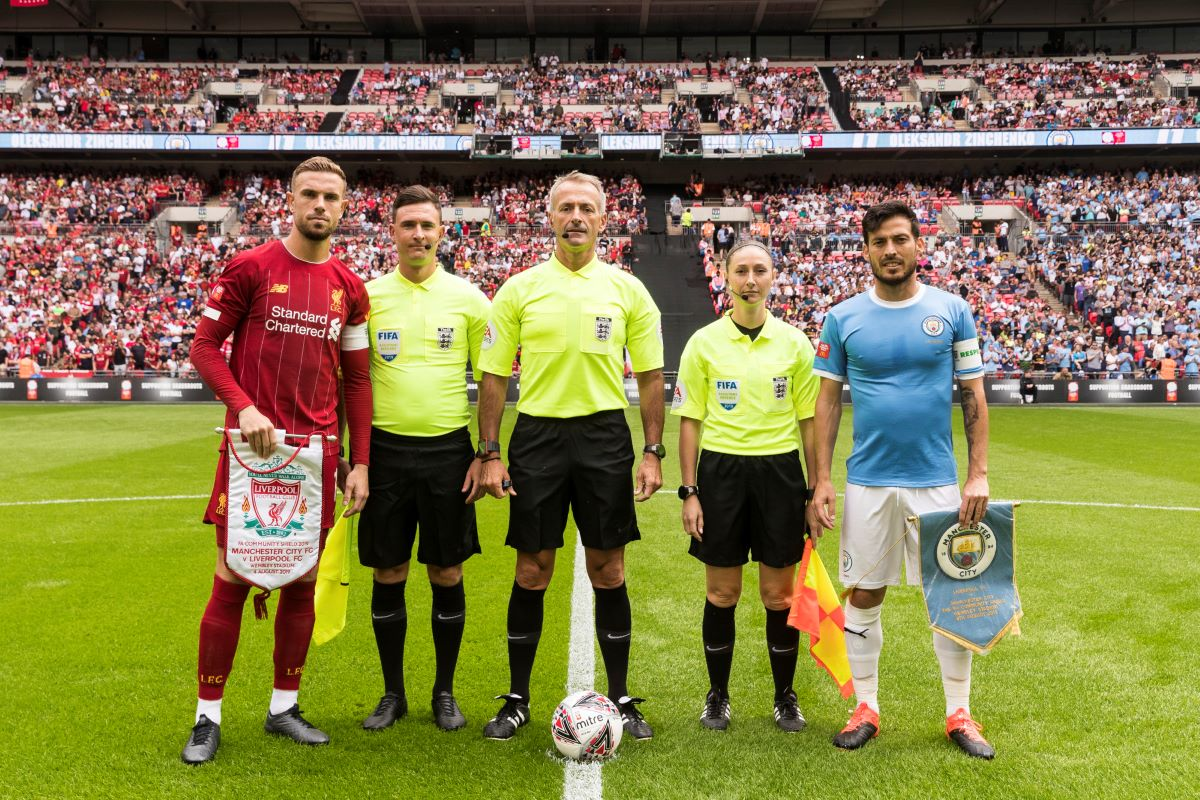 Sian Massey=Ellis officiating at Wembley
