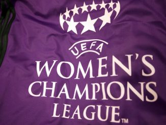 A view of a UEFA Women's Champions League flag