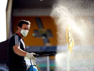 Corner flag is disinfected