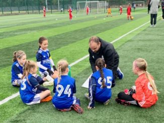 Dean Prentice coaching girls at Birmingham City