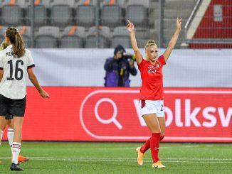 Switzerland's Alisha Lehmann celebrates after scoring
