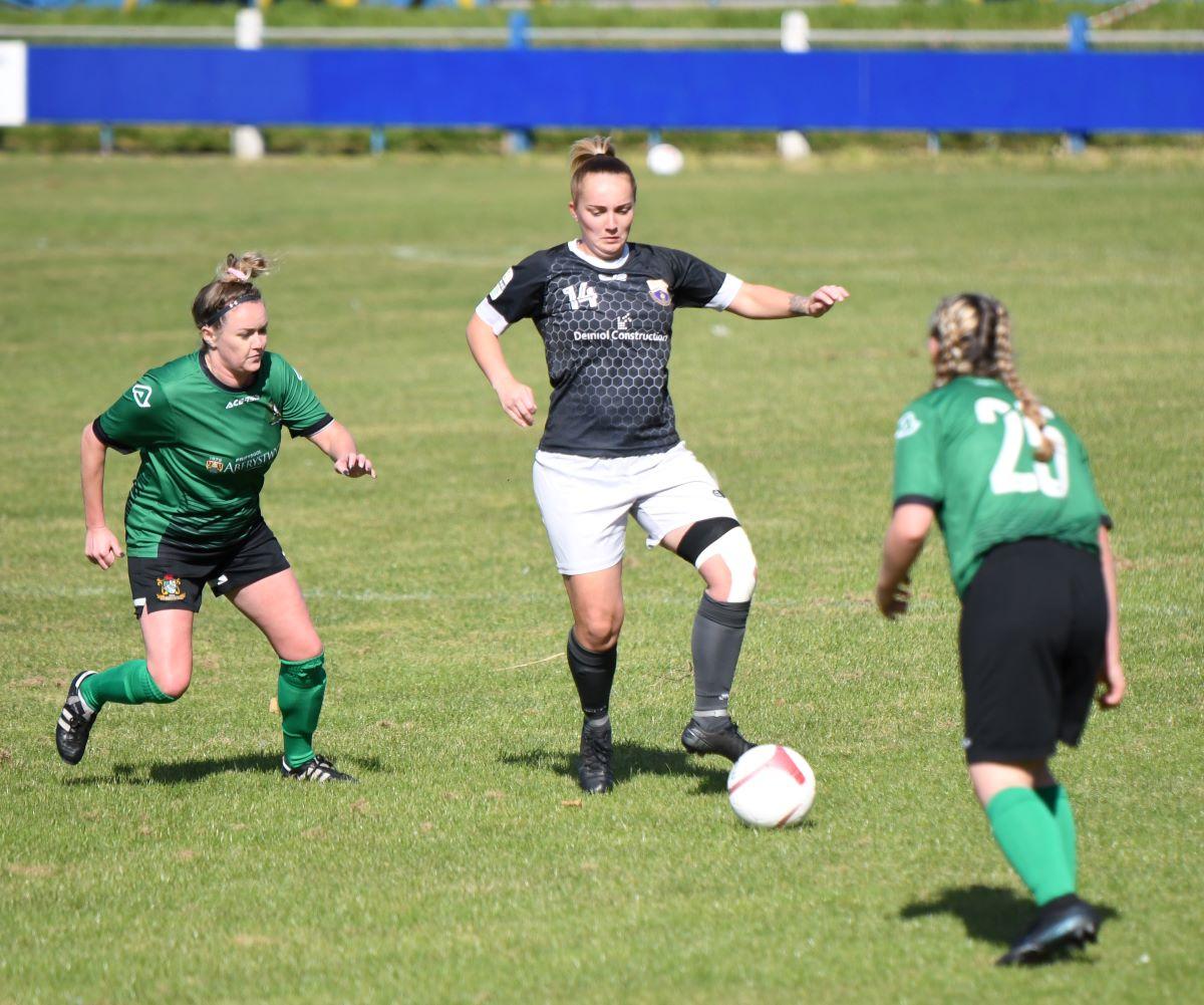 Port Talbot Town goal scorer Lauren Amor on the attack against Aberystwyth Town