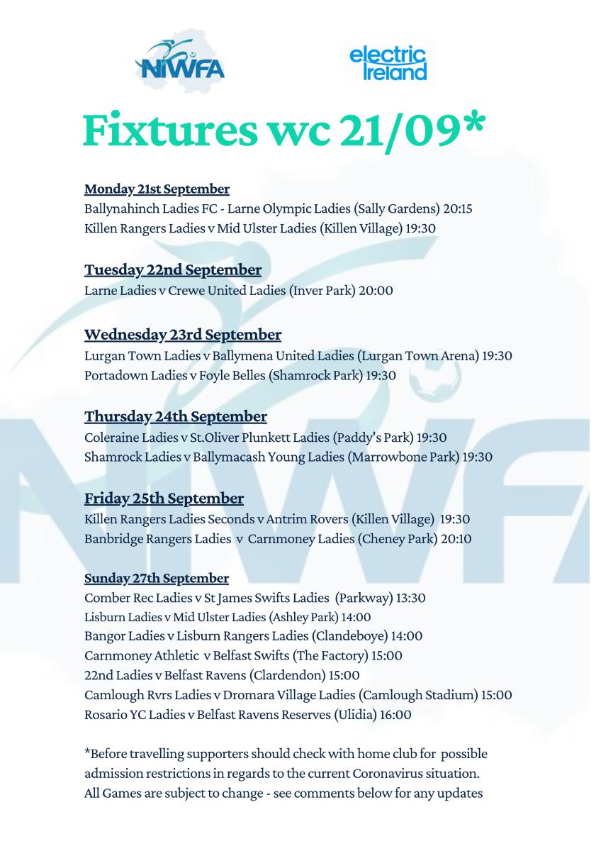niwfa fixtures Poster wk 5