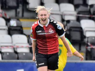 Crusaders Strikers' goalscorer celebrates