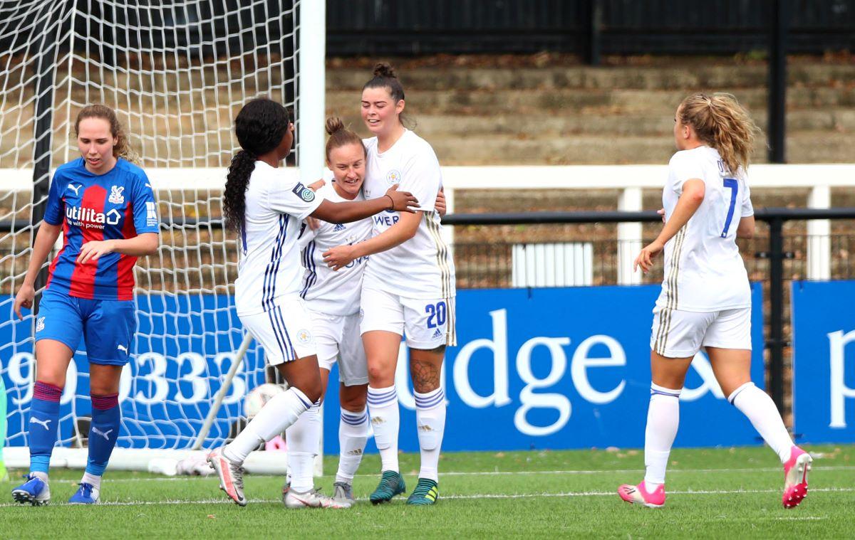 Natasha Flint of Leicester City celebrates scoring
